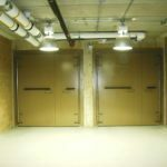 Pair of Asymmetrical Bi-Swing Blast Doors Concrete Filled