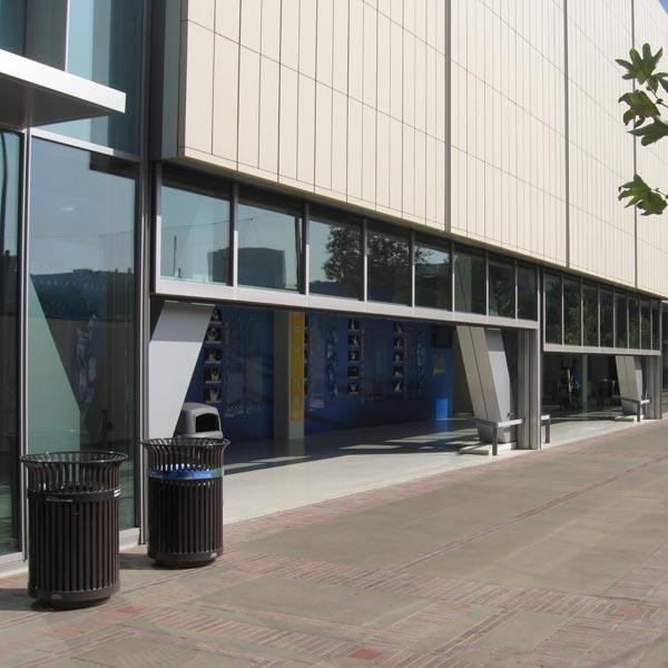 Glazed Vertical Lift Door on Pauley Pavilion UCLA